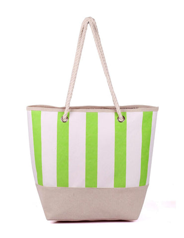 Women's Summer Nautical Stripe Bag Lime