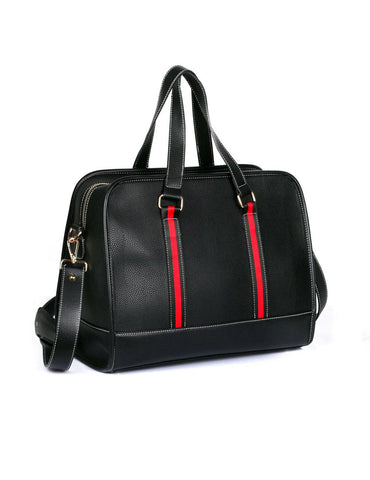 Men's Professional & Travel Duffel Bag Black Red Stripe