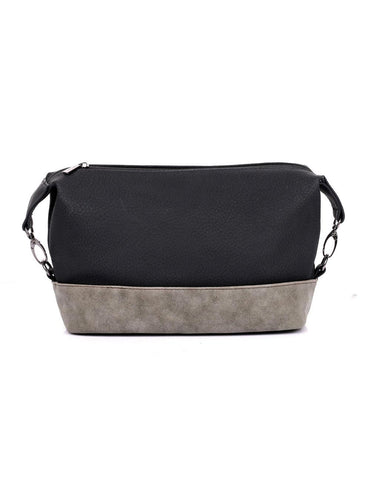 Men's Faux Suede Travel Toiletry Bag Black Grey