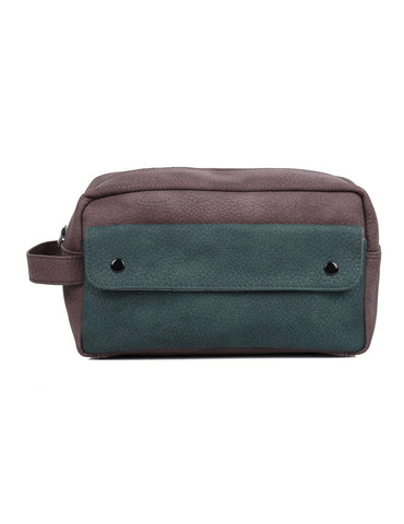 Men's Travel Toiletry Bag with Front Pocket Brown Hunter Green