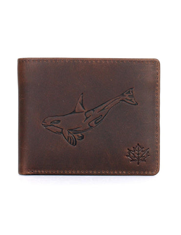 CANADA WILD Men's Hunter Leather Wallet Killer Whale