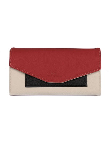 Gabrielle Women's Envelope Clutch Wallet Red Tone