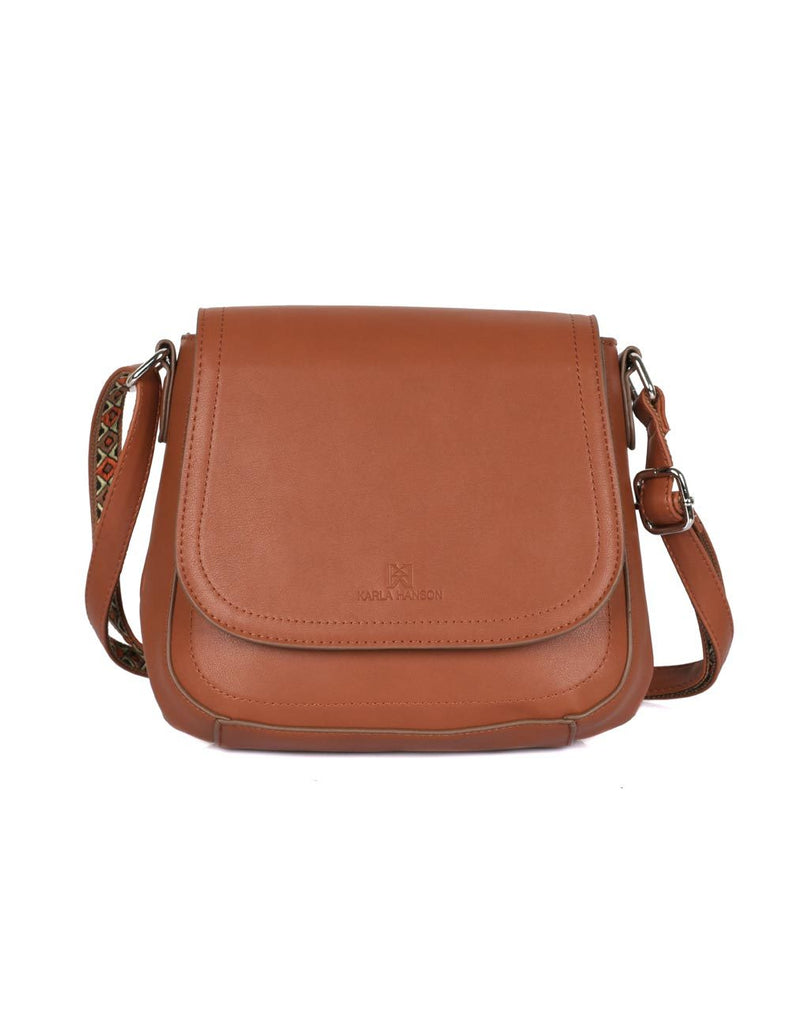 Isabella Women's Gypsy Crossbody Saddle Bag II Tan