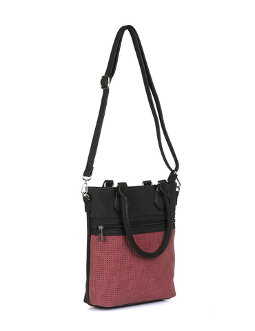 Ava Women's Laser Cut Crossbody Bag Burgundy