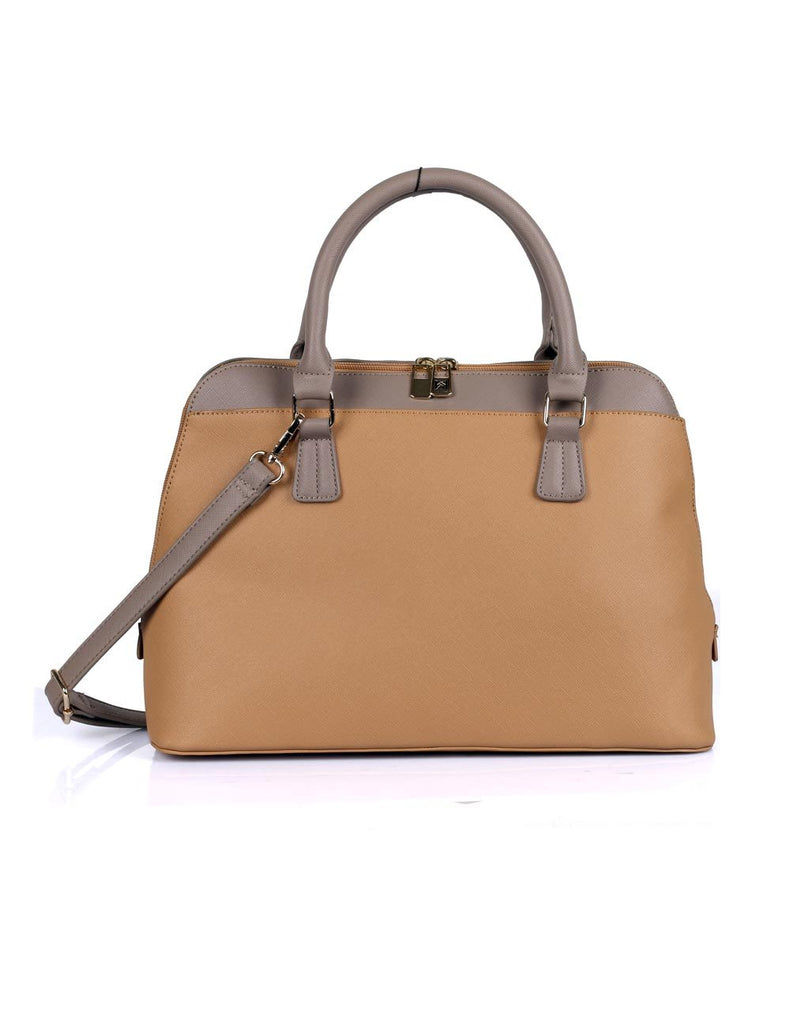 Riley Women's Satchel Bag Tan with Taupe Trim