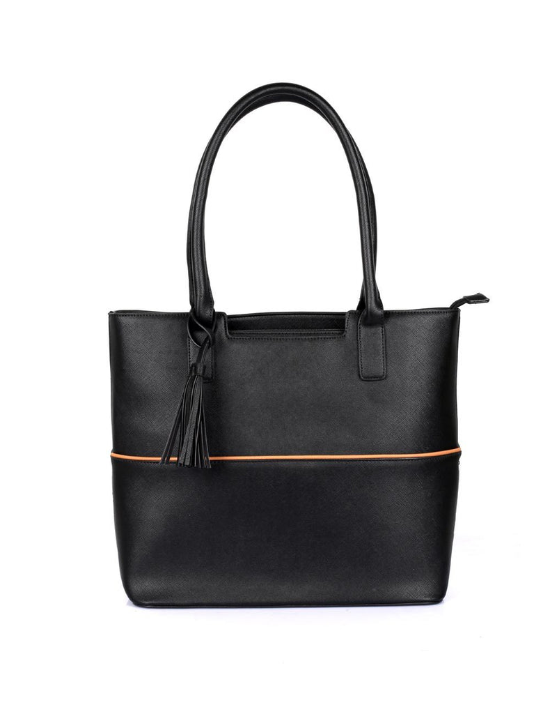 Riley Women's Tote Bag with Tassel - Black with Tan Trim