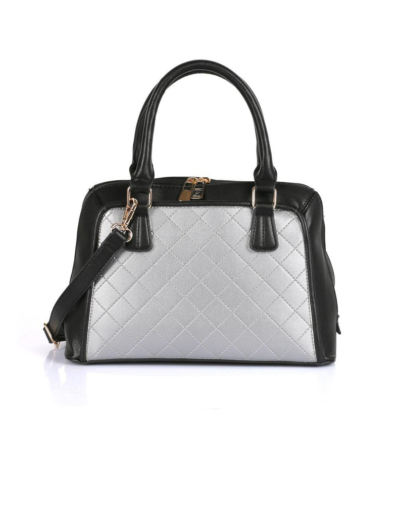 Elizabeth Women's Quilted Satchel Bag Silver Black