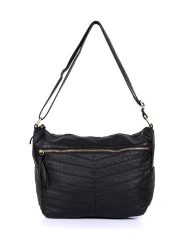 Avery Pre-Washed Women's Stripe Hobo Bag Black