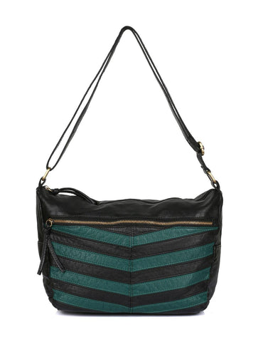 Avery Pre-Washed Women's Stripe Hobo Bag Forest Green
