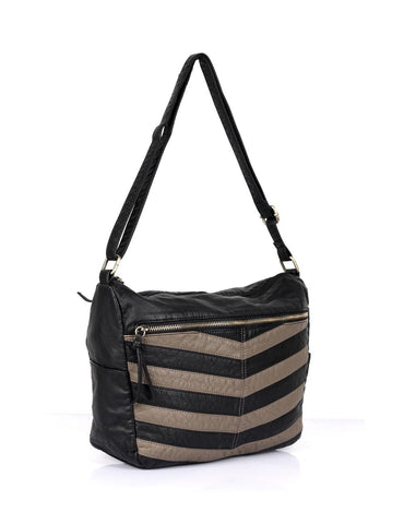 Avery Pre-Washed Women's Stripe Hobo Bag Taupe