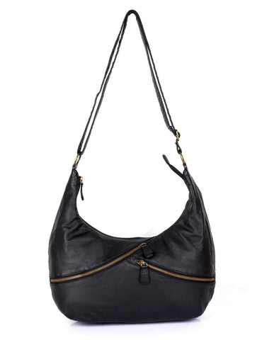 Avery Pre-Washed Women's Hobo Bag Burnt Black with Zippers