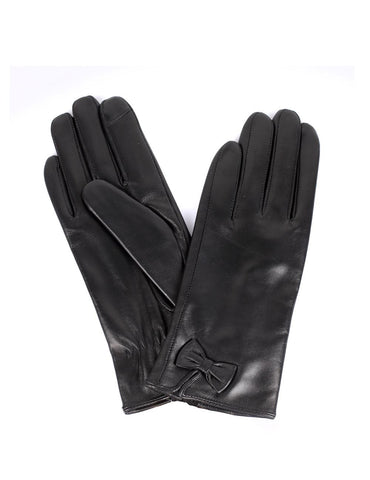 Women's Deluxe Leather Touch Screen Gloves with Bow