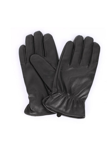 Men's Deluxe Leather Touch Screen Gloves Elastic Band