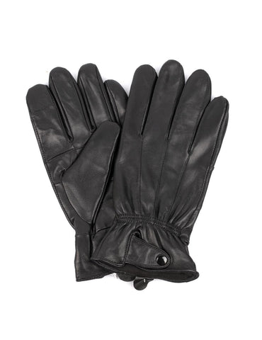 Men's Genuine Leather Touch Screen Gloves with Button