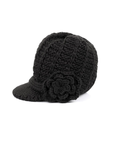 Women's Retro Knit Hat with Floral Embellishment Black