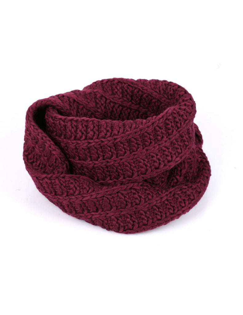 Women's Retro Knit Infinity Scarf Burgundy