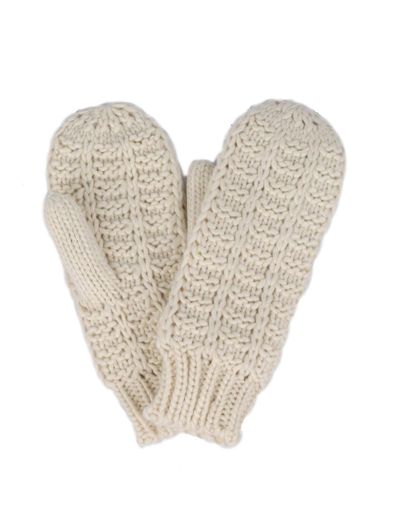 Women's Retro Knit Mittens Ivory