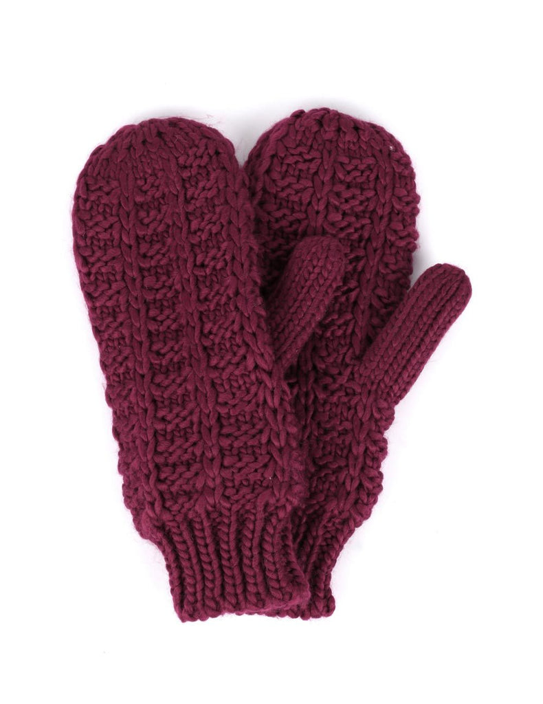 Women's Retro Knit Mittens Burgundy
