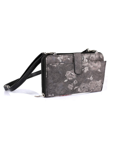 Leah Women's RFID Crossbody Phone Wallet Floral Black