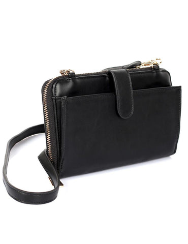Leah Women's RFID Crossbody Phone Wallet Black