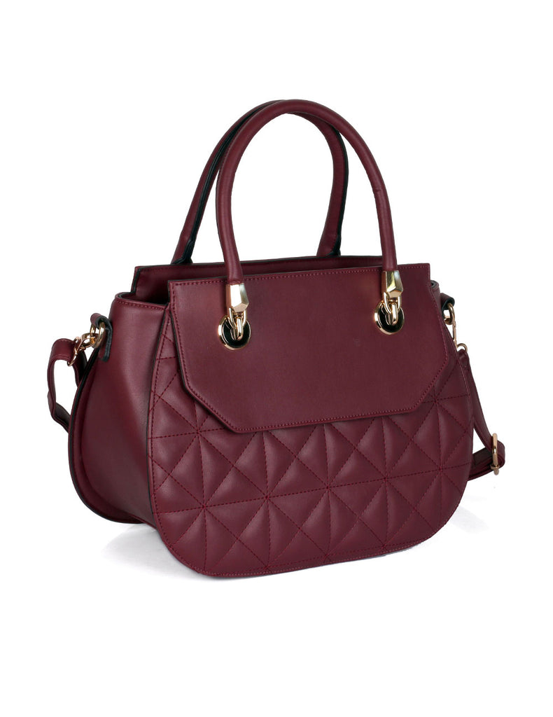Florence Women's Quilted Satchel Bag Wine