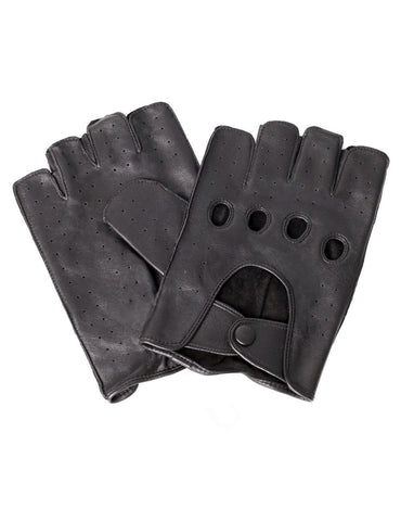 Men's Deluxe Leather Fingerless Driving Gloves