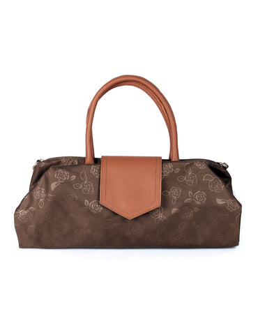 Millie Women's Rose Print Foldable Shopping Bag Brown