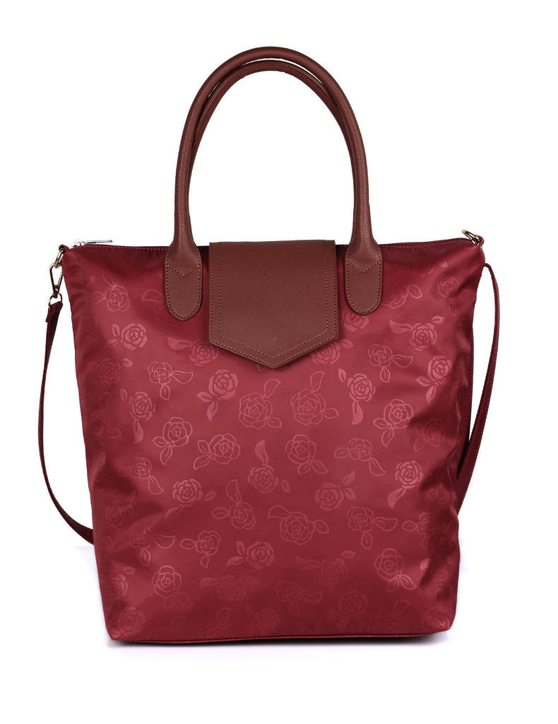 Millie Women's Rose Print Foldable Shopping Bag Wine