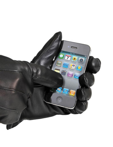 Women's Genuine Leather Touch Screen Gloves Elastic Band