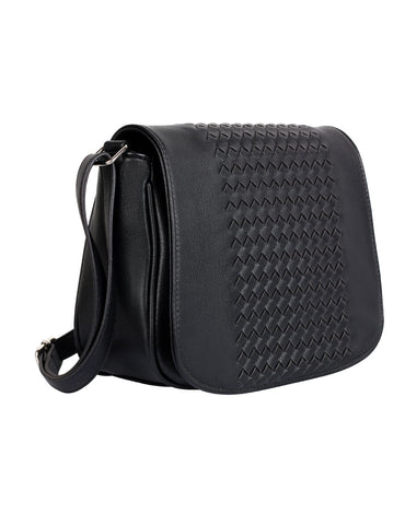 Tanya RFID Blocking Women's Crossbody Saddle Bag Black
