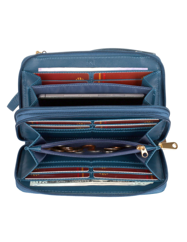 Ellen RFID Blocking Woven Crossbody Phone Wallet Blue