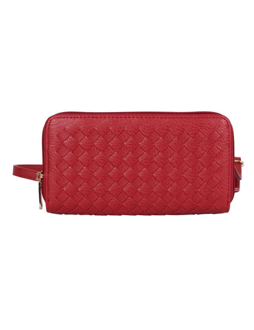 Elle RFID Blocking Woven Crossbody Phone Wallet Red
