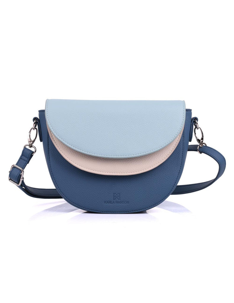 3 Tone Blue Crossbody Bag Front View
