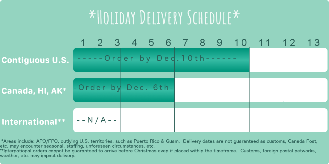 Holiday Shipping Schedule: Contiguous U.S. Delivery must be ordered by December 10th. Canada & U.S. territories by December 6th, and International orders cannot be guaranteed a date due to customs, Postal network, etc.