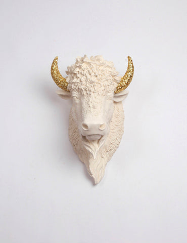The Kersey | Bison Head | Faux Taxidermy | Antique White Resin w/ Gold Glitter Horns