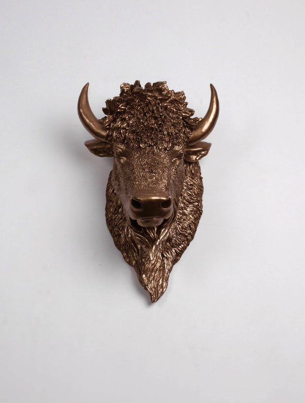 Bronze Bison Head Wall Mount