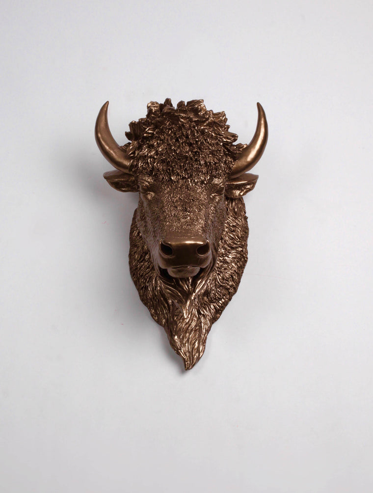 The Scarlett | Bison Head | Faux Taxidermy | Bronze Resin