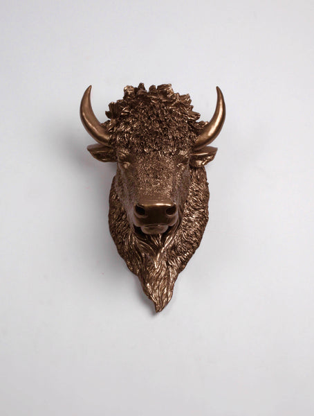 The Scarlett Bison Head Faux Taxidermy Bronze Resin