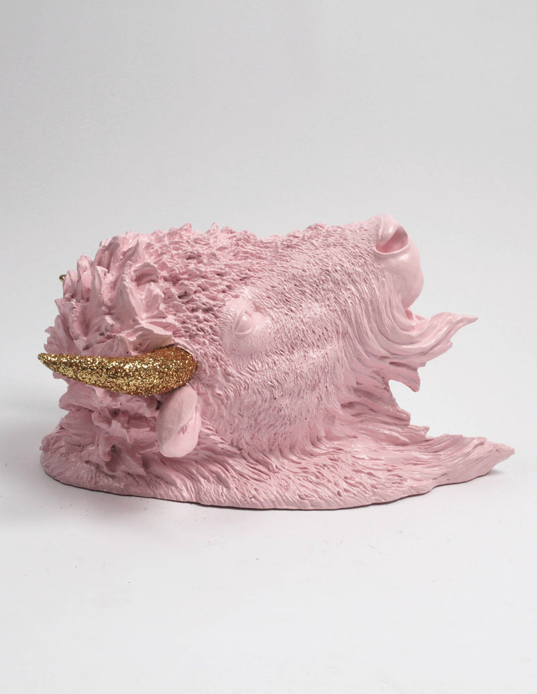 The Amara | Faux Taxidermy Bison Head | Cameo Pink Resin w/ Gold Glitter Horns