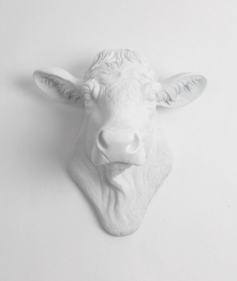 SALE - Cow Head Wall Decor, The Bessie in White by White Faux Taxidermy. Country Cottage Farmhouse Decor