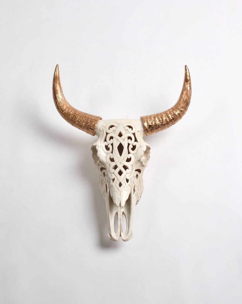 Filigree Faux Bison Skull, Natural Color with Gold Horns