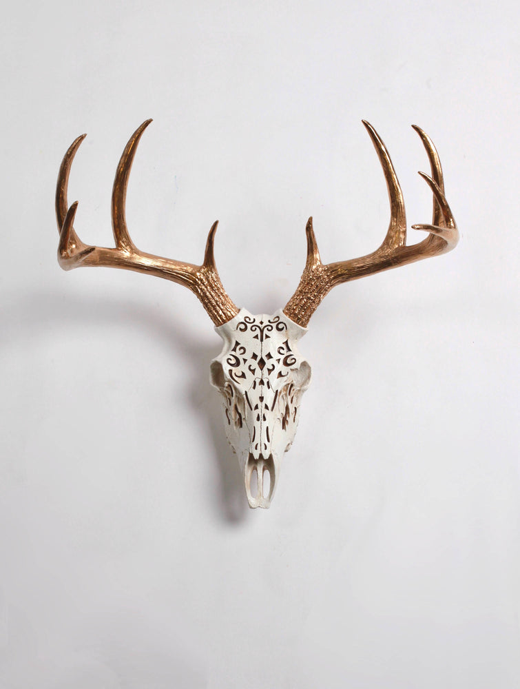 Filigree Faux Deer Skull, Natural Color with Gold Antlers