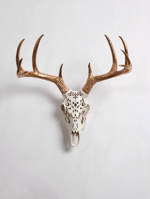 Filigree Deer Skull Wall Mount with Gold Antlers