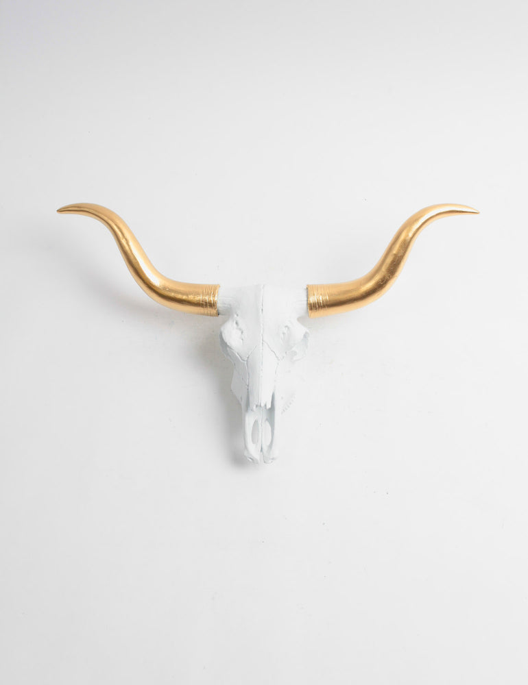 The MINI Savannah- White w/Gold Horns Faux Cow Skull Steer Head Wall Mount