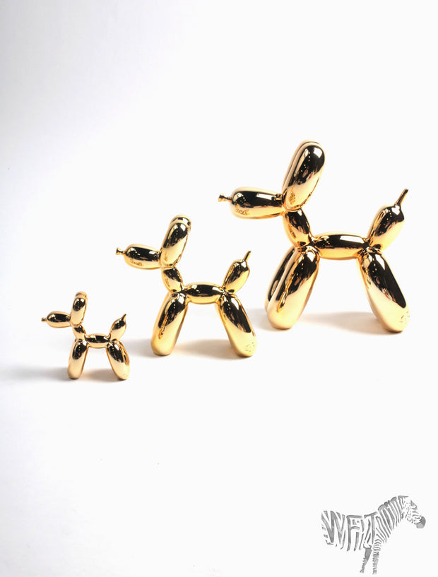 Set of (3) Gold Balloon Dogs. Each Sold Separately. Medium included only