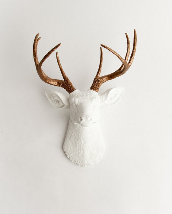 The Lydia White Deer Head Wall Mount with Bronze Faux Antlers