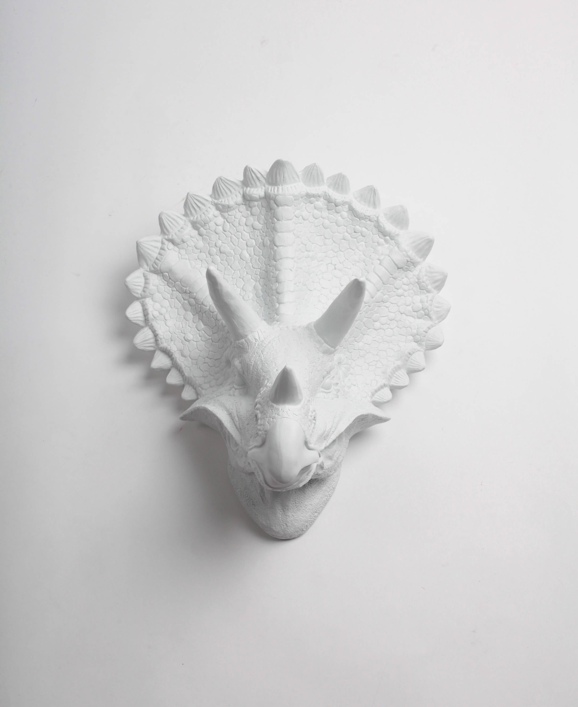 The Cera In White Triceratops Dinosaur Head Wall Mount