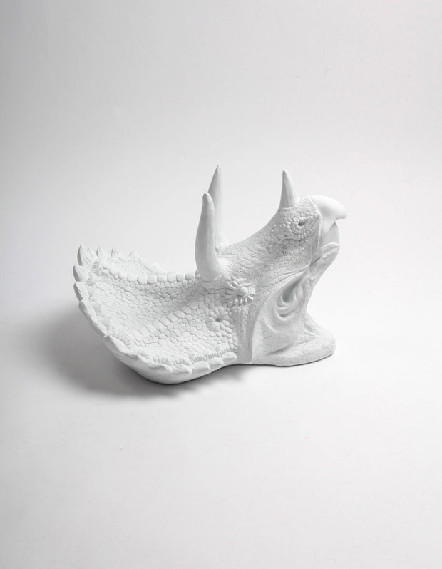 The Cera in White, Triceratops Dinosaur Head Wall Mount