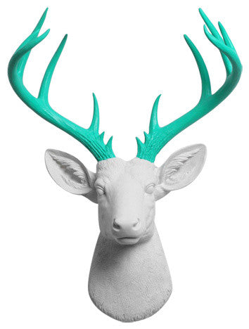 white Resin XL Deer Head Mount, Turquoise Antler Decor