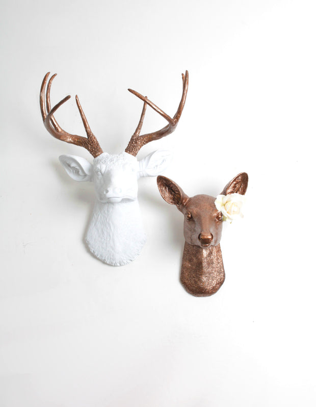 Buck & Doe Set Wall Mount. The Lydia, white deer head with metallic bronze antlers; & Ophelia in bronze (His and Hers bedroom wall set). Note: Rose Not Included.